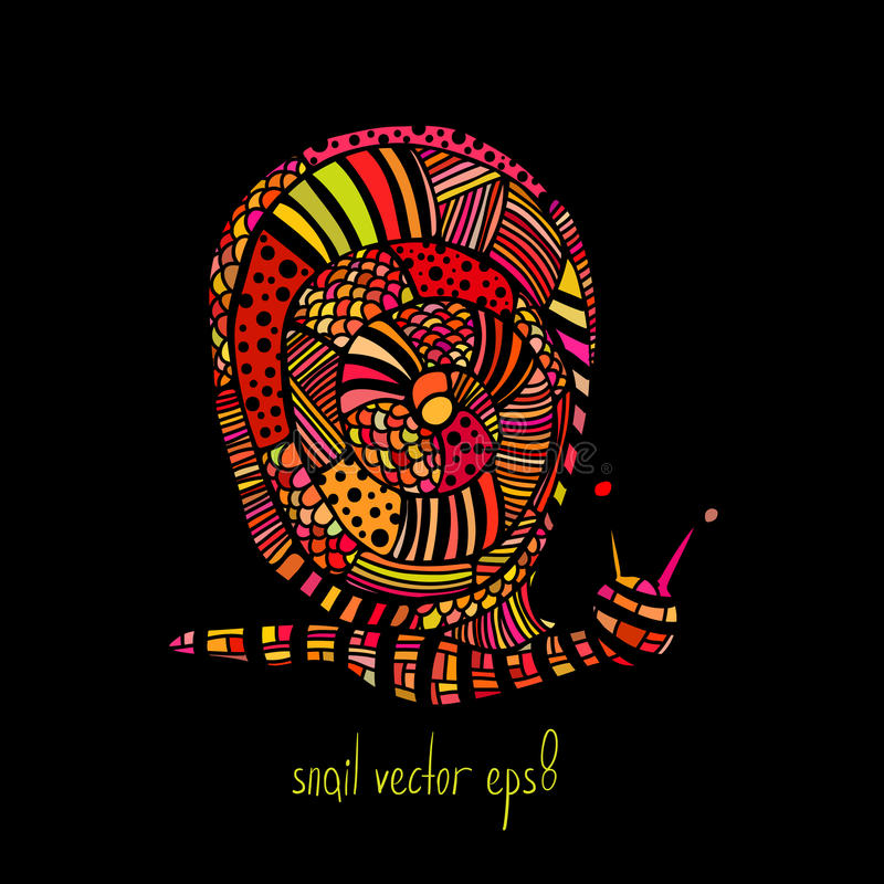 Colored zentangle snail on black background royalty free stock photography