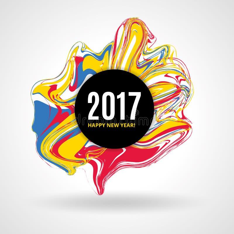 Coloree el Año Nuevo de mármol stock de ilustración