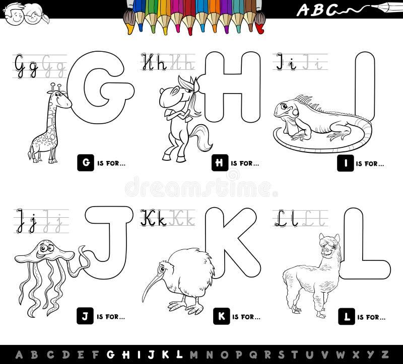 Coloree el alfabeto educativo de la historieta del libro para los niños stock de ilustración