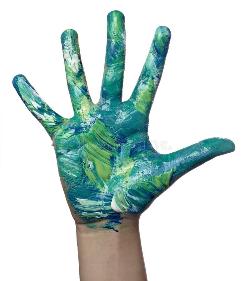 Coloree el arte pintado del arte de la mano del niño imagen de archivo libre de regalías