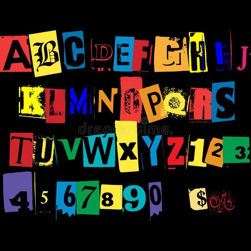 Coloree el diseño alfabético completo de la tipografía ilustración del vector