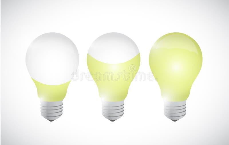 Coloree el diseño del ejemplo de la bombilla de la idea stock de ilustración