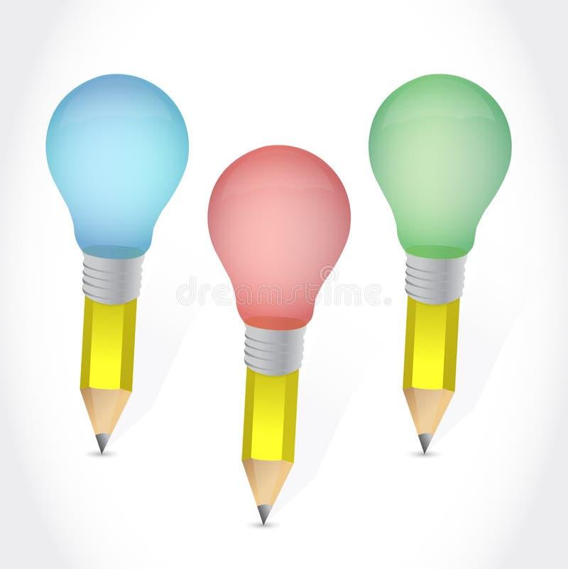 Coloree el diseño del ejemplo de las bombillas del lápiz ilustración del vector