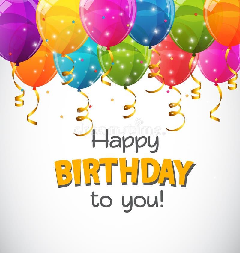 Coloree el ejemplo brillante del vector del fondo de la bandera de los globos del feliz cumpleaños libre illustration