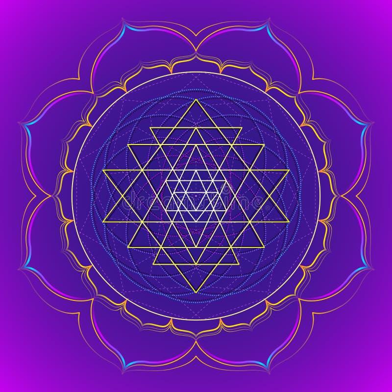 Coloree el ejemplo sagrado de la geometría de la mandala stock de ilustración