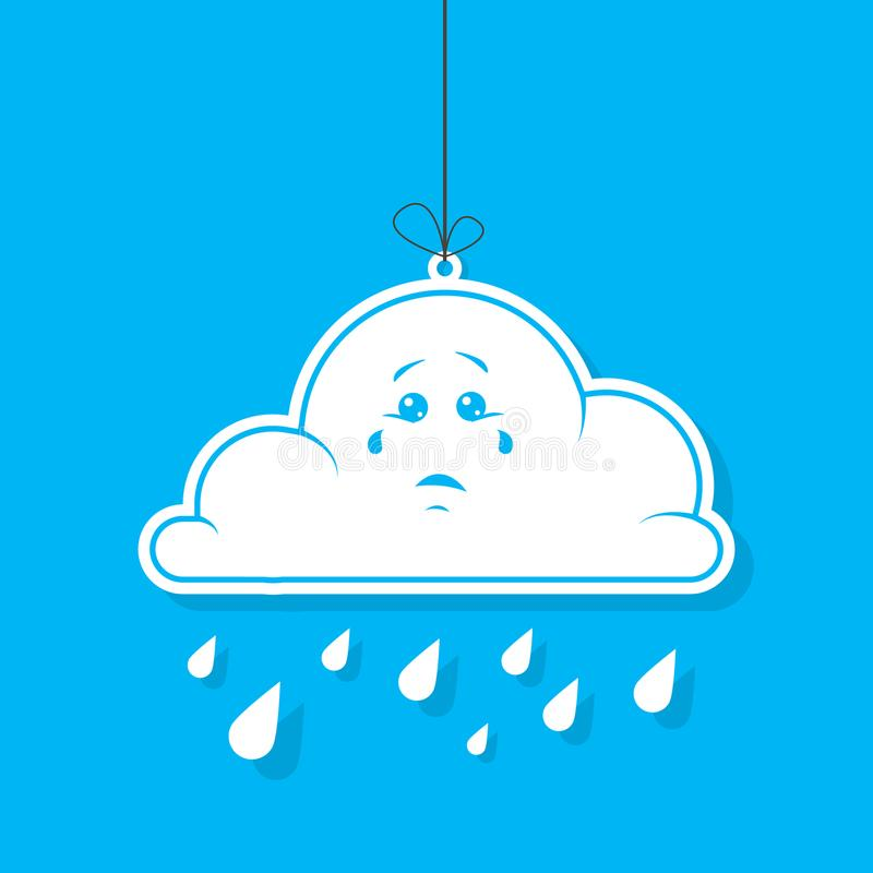 Coloree el ejemplo simple del vector de la nube blanca de la historieta con lluvia en fondo azul libre illustration