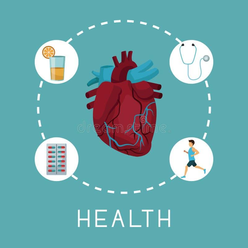 Coloree el fondo con el órgano del corazón en el centro con los iconos alrededor de salud del texto ilustración del vector