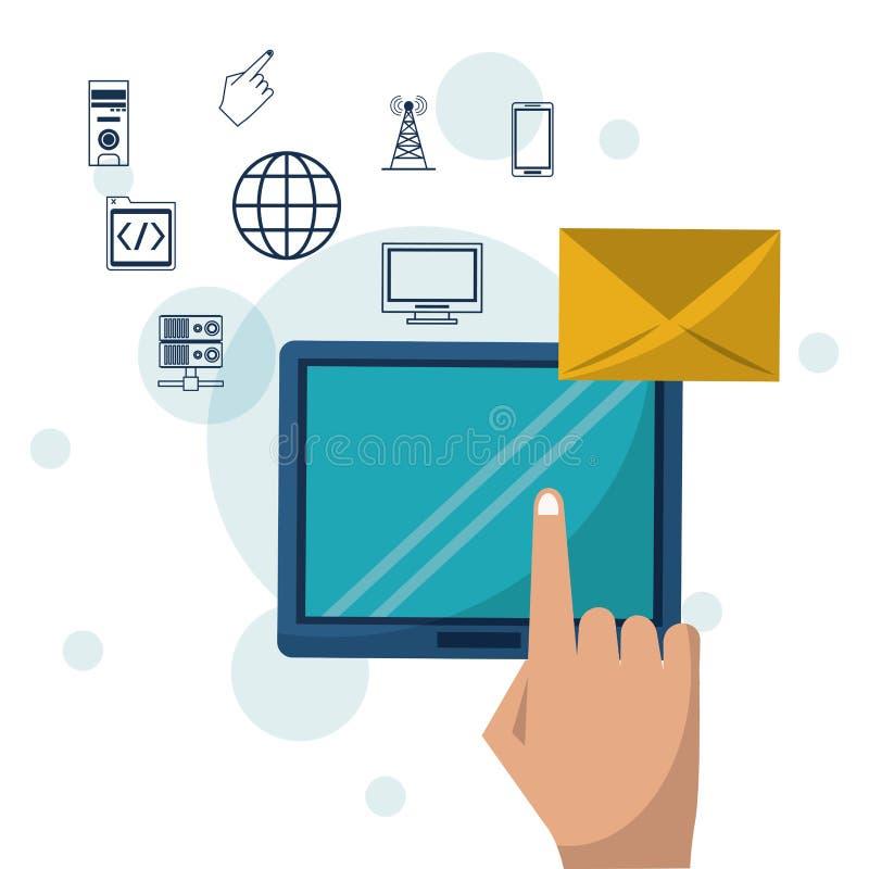 Coloree el fondo con el dispositivo de la tableta y el correo del sobre en iconos del primer y del establecimiento de una red en  stock de ilustración