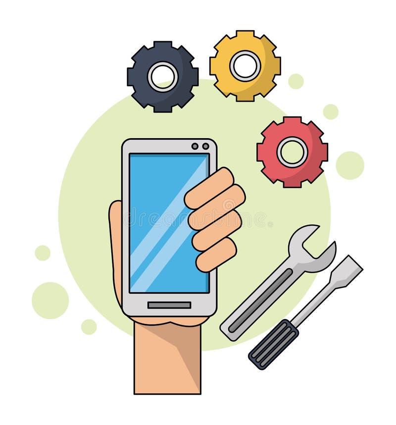 Coloree el fondo con la mano que sostiene smartphone en primer con los iconos de las herramientas ilustración del vector