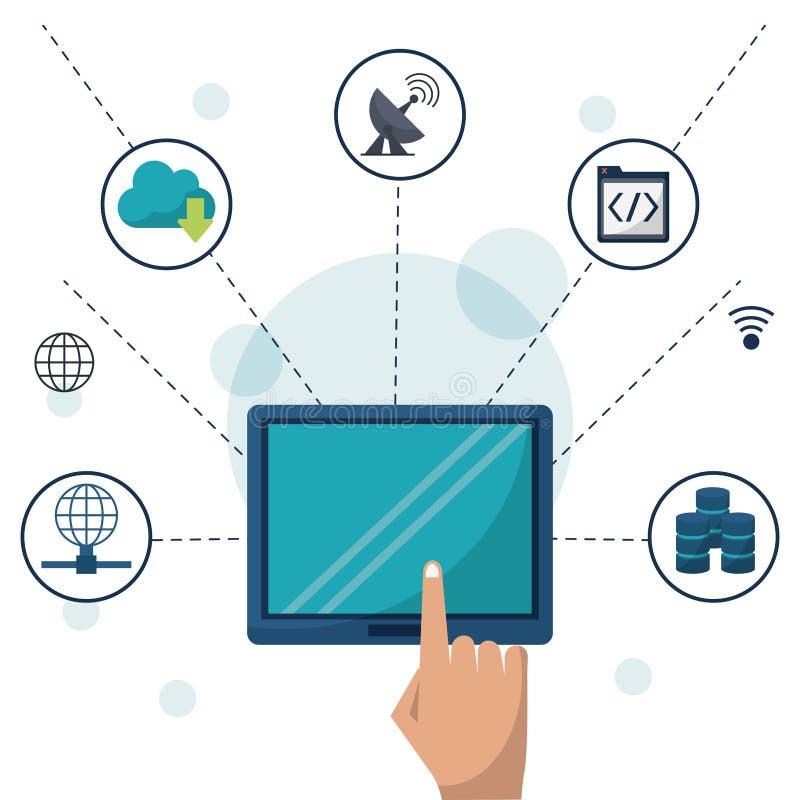 Coloree el fondo con la tableta en conexiones del primer y de red y apps alrededor libre illustration