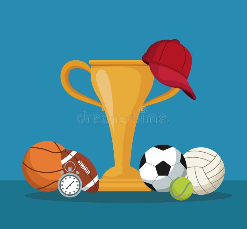 Coloree el fondo con las manos que sostienen una taza de oro del trofeo y el casquillo y los elementos se divierten libre illustration
