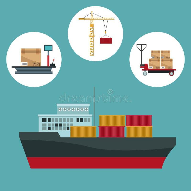 Coloree el fondo con el marco circular de la logística del almacenamiento de los iconos y la nave del carguero del primer con los stock de ilustración