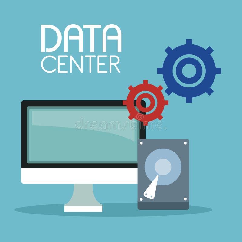 Coloree el fondo con el ordenador de la exhibición y el disco duro con símbolo de los engranajes y el centro de datos del texto libre illustration