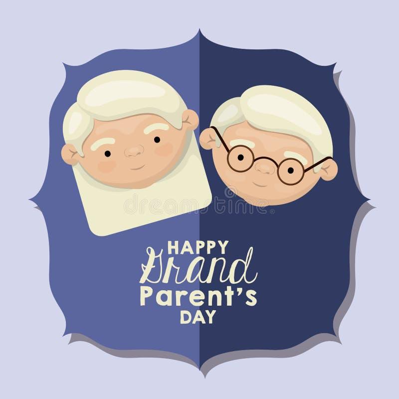Coloree el fondo de la figura tarjeta de felicitación azul del papel con día feliz de los abuelos de la cara de la caricatura ilustración del vector