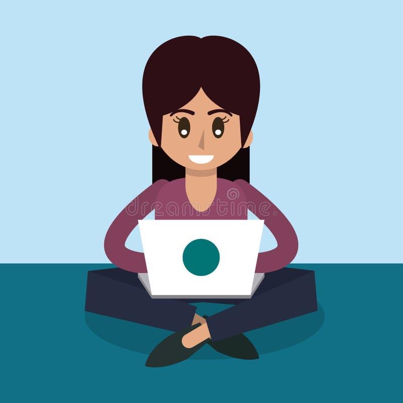 Coloree el fondo de la mujer que se sienta que trabaja en ordenador portátil en vista delantera stock de ilustración