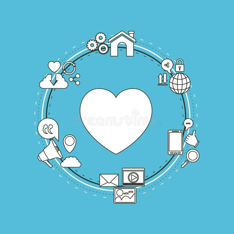Coloree el fondo del bastidor circular de los iconos de Internet de la parte de la tecnología y del amor del corazón de la siluet stock de ilustración