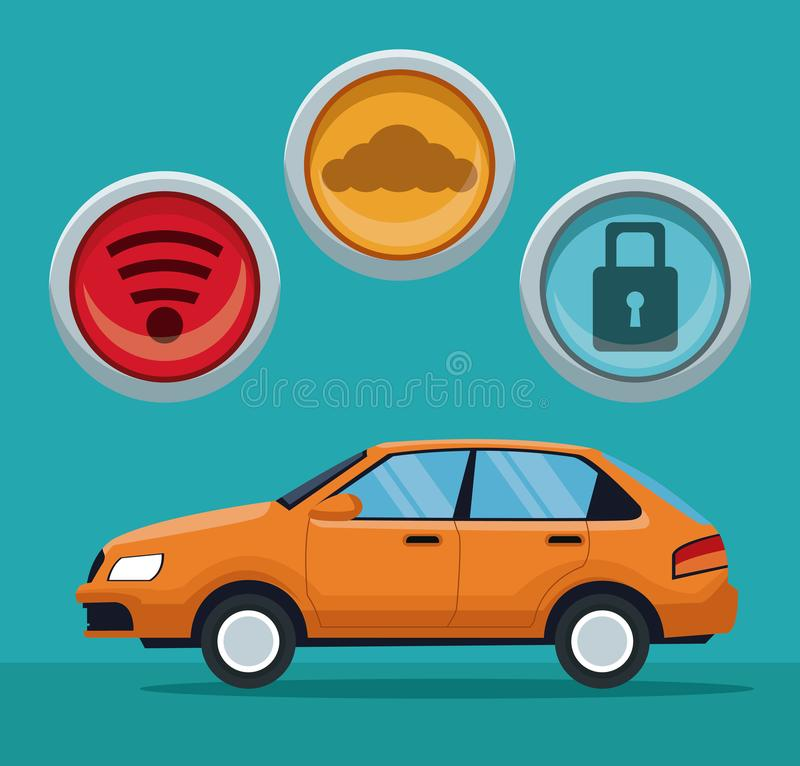 Coloree el fondo del vehículo clásico del coche con los iconos del botón ilustración del vector