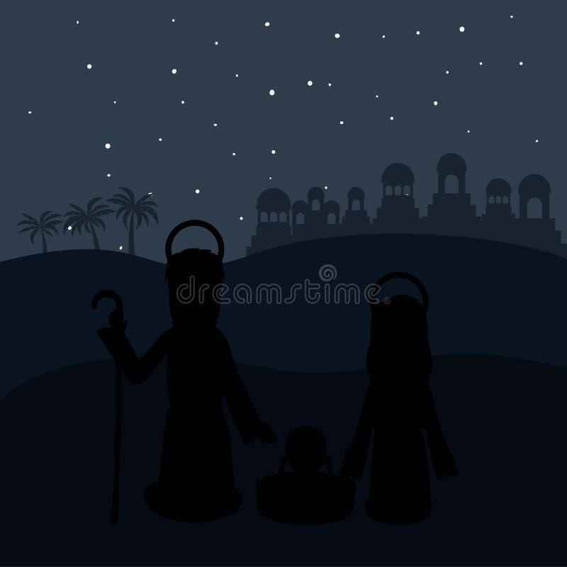 Coloree el fondo en la noche del desierto de Belén con Virgen María y San José y Jesús en pesebre ilustración del vector