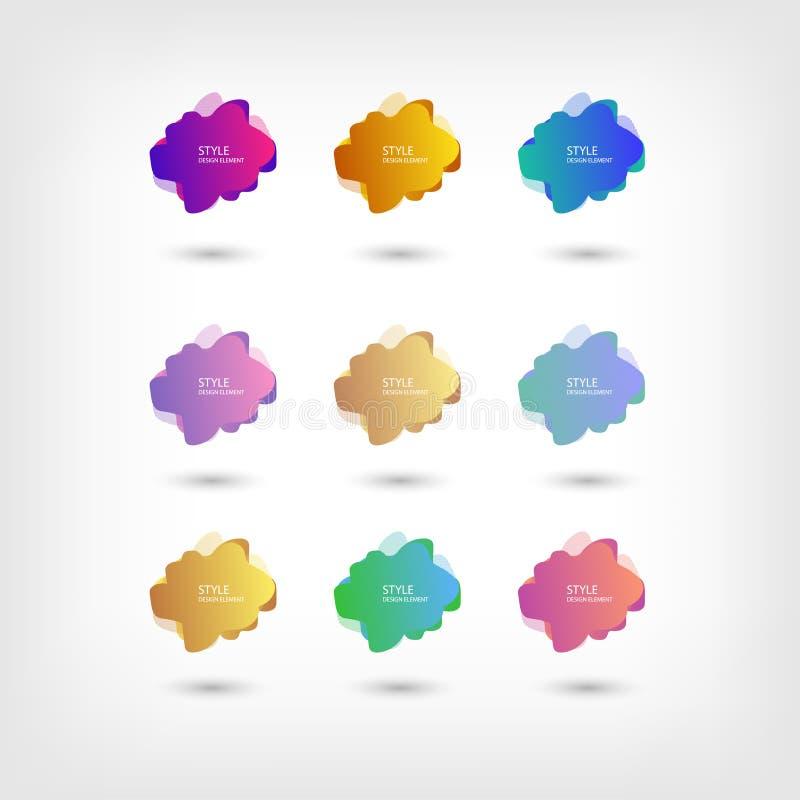 Coloree el fondo flúido de la pendiente de la coincidencia del color de los modelos de semitono líquidos abstractos de la forma F imagen de archivo