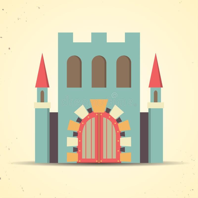 Coloree el icono plano del castillo para el web y el móvil ilustración del vector