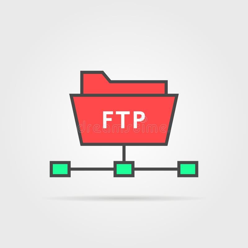 Coloree el icono simple del protocolo del ftp stock de ilustración