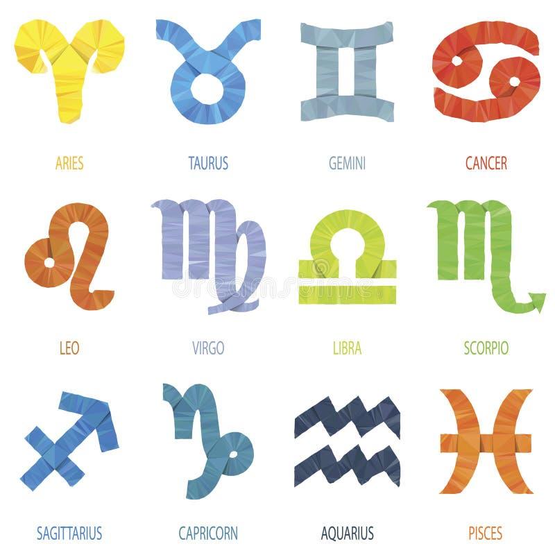 Coloree el illustrati geométrico del vector de las muestras y de los iconos del zodiaco del polígono stock de ilustración