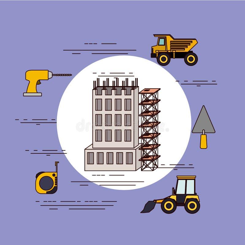 Coloree el marco circular del fondo del edificio del sistema bajo construcciones y estructure la plataforma con las herramientas  stock de ilustración