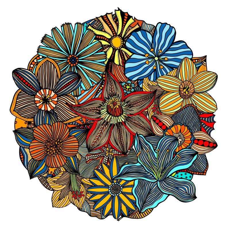 Coloree el modelo floral stock de ilustración