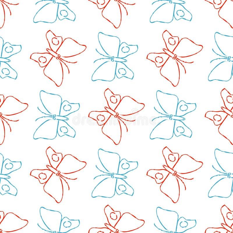 Coloree el modelo inconsútil de las mariposas del bosquejo del lápiz ilustración del vector