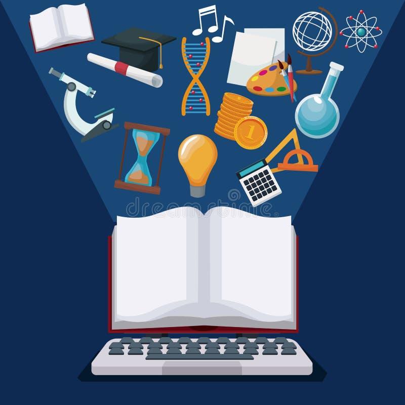Coloree el ordenador portátil de la tecnología del fondo y exhiba el libro abierto con conocimiento ligero del academic de los ic libre illustration
