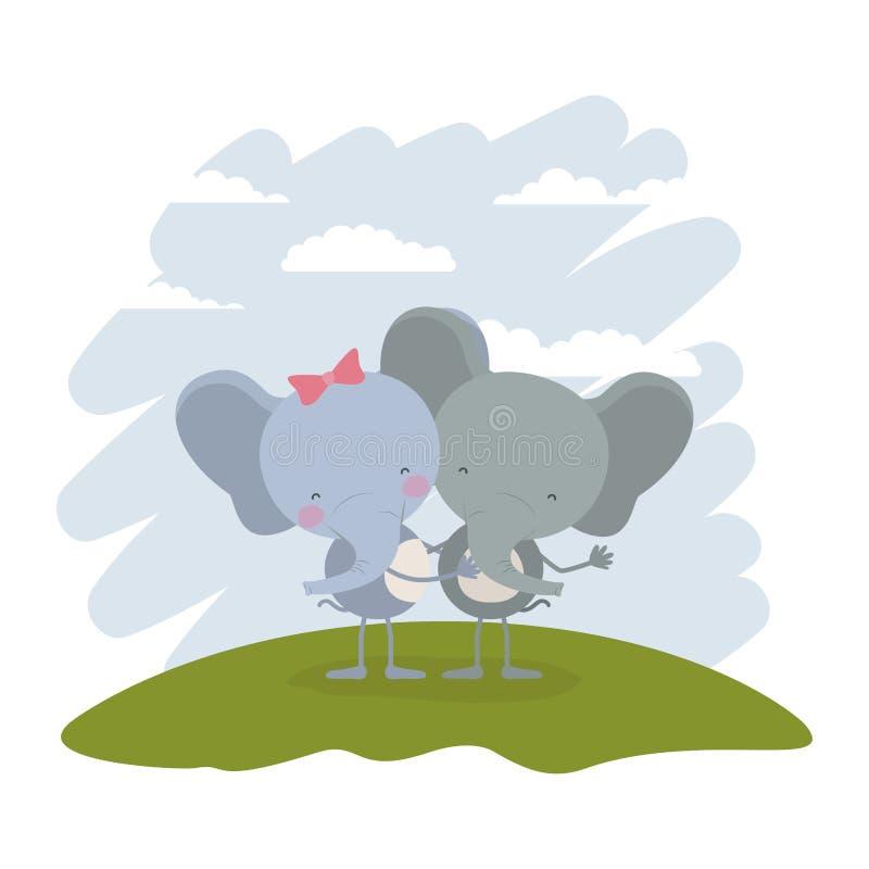 Coloree el paisaje y la hierba del cielo de la escena con los pares de elefantes abrazados ilustración del vector