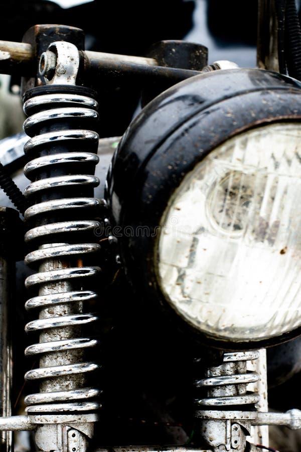 Coloree el tiro de un amortiguador de choque del frente de la motocicleta del vintage imagen de archivo libre de regalías