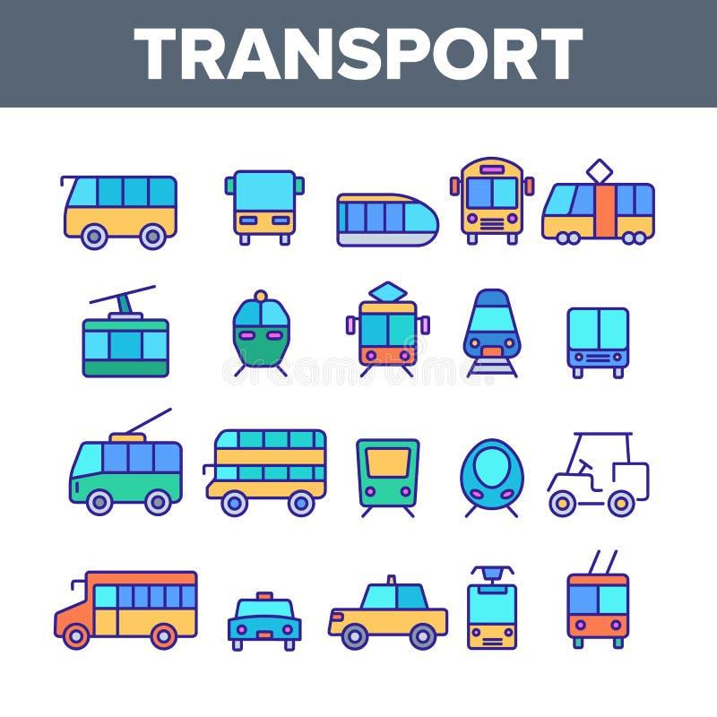 Coloree el transporte público y el sistema linear de los iconos del vector del vehículo stock de ilustración