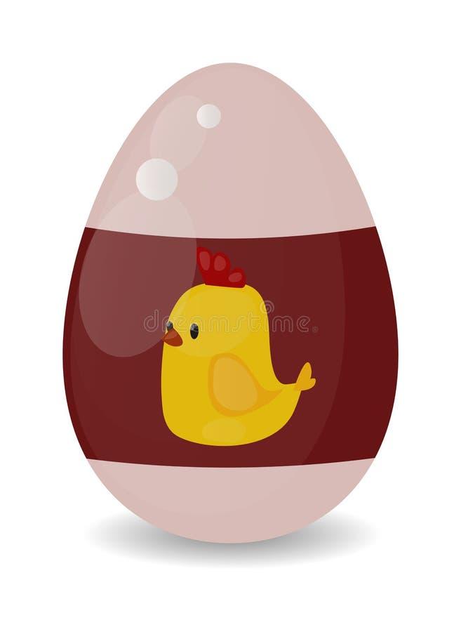 Coloree la decoración de la primavera de la historieta del huevo de Pascua y el ejemplo plano del vector del símbolo de la comida ilustración del vector