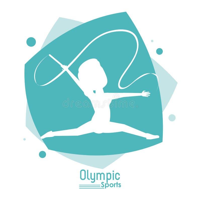 Coloree la escena abstracta con deporte olímpico anónimo de la gimnasia rítmica de la mujer de la silueta stock de ilustración