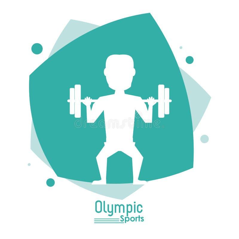 Coloree la escena abstracta con deporte olímpico de elevación de los pesos del hombre anónimo de la silueta libre illustration