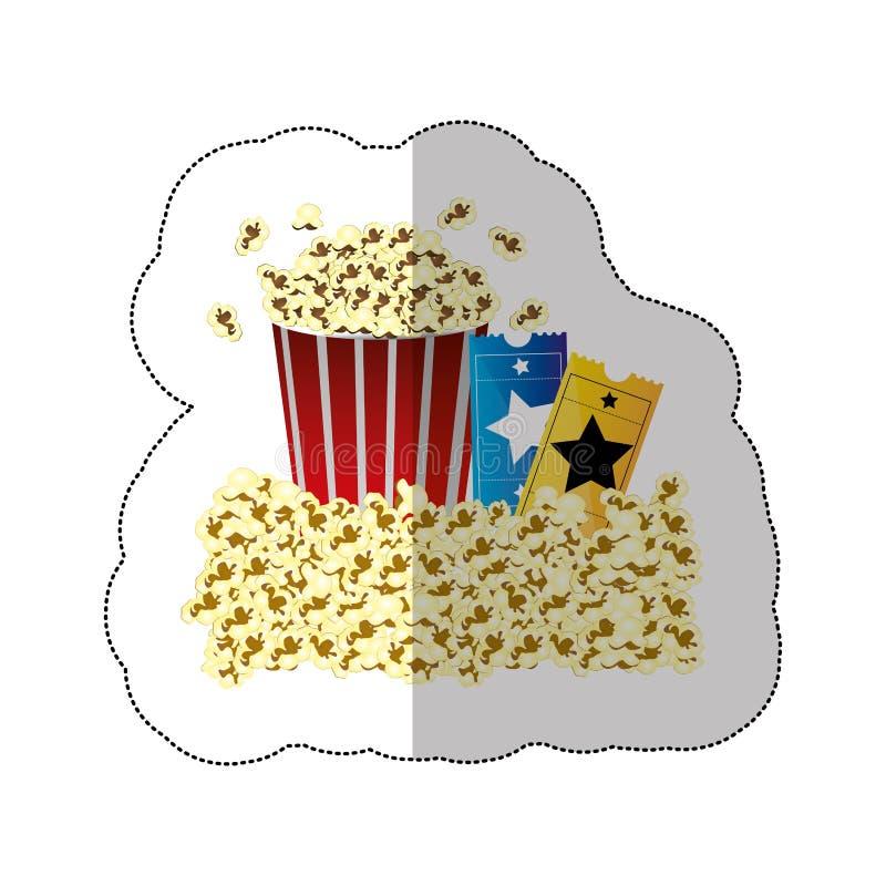 coloree la etiqueta engomada del fondo de los boletos del envase y de la película de las palomitas de la mantequilla stock de ilustración