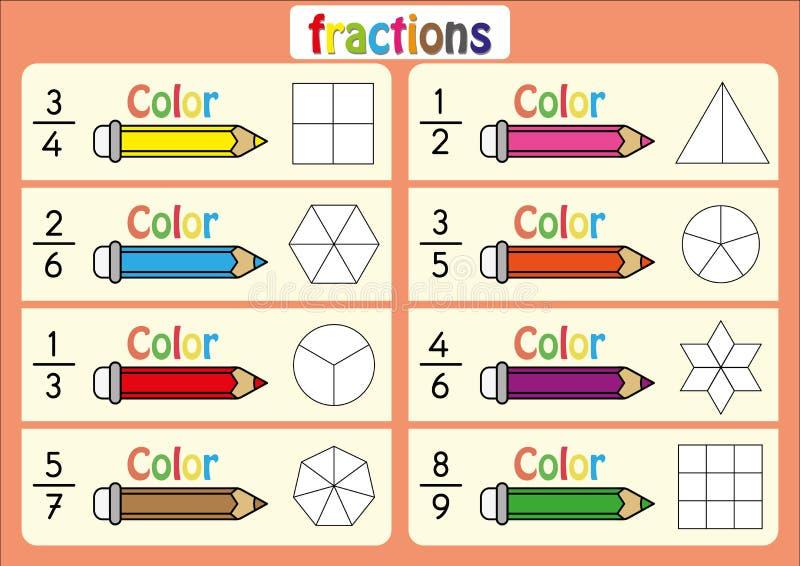 Coloree La Forma Para Mostrar La Fracción, Educativa, Coloree Las ...