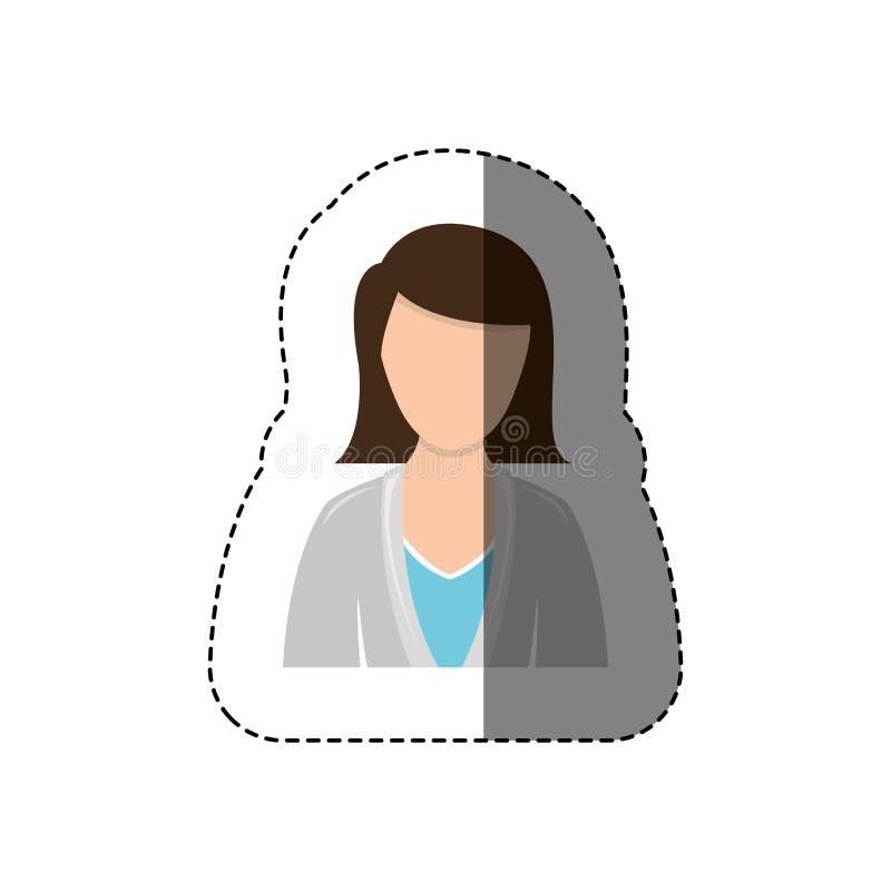 coloree a la media mujer del cuerpo de la etiqueta engomada con la chaqueta y el pelo corto sin la cara ilustración del vector
