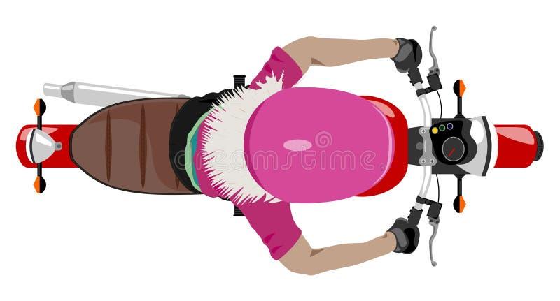 Coloree la motocicleta clásica con la opinión superior del jinete de la muchacha aislada en wh ilustración del vector