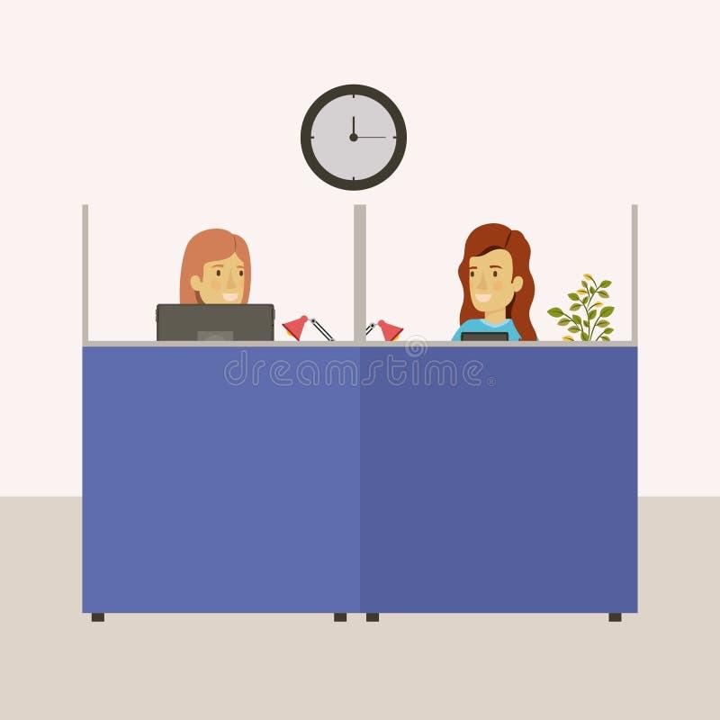 Coloree la oficina del lugar de trabajo de los cubículos del fondo con los empleados de sexo femenino libre illustration