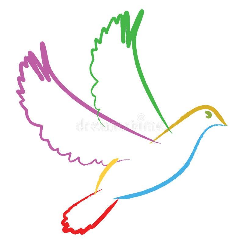 Coloree la paloma stock de ilustración