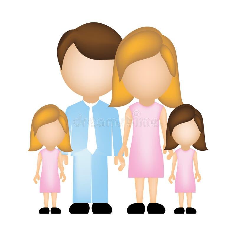 coloree la silueta anónima con la mamá del papá y dos hijas femeninas en ropa formal libre illustration