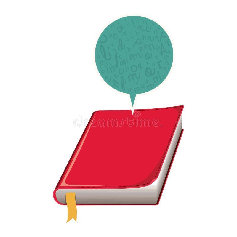coloree la silueta con el libro con la cubierta y la burbuja rojas del diálogo stock de ilustración