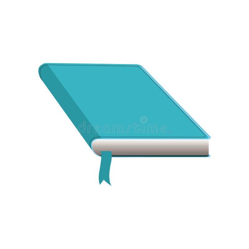 coloree la silueta con el libro con la cubierta y la cinta azul stock de ilustración