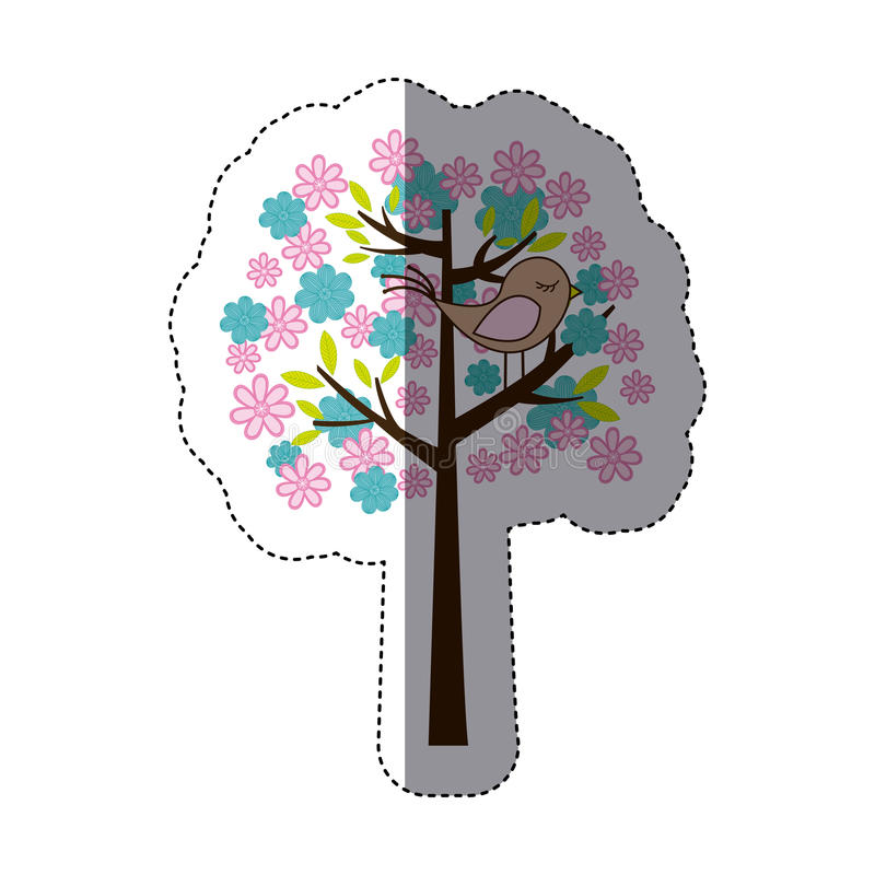 coloree la silueta de la etiqueta engomada con el árbol y el pájaro florales libre illustration