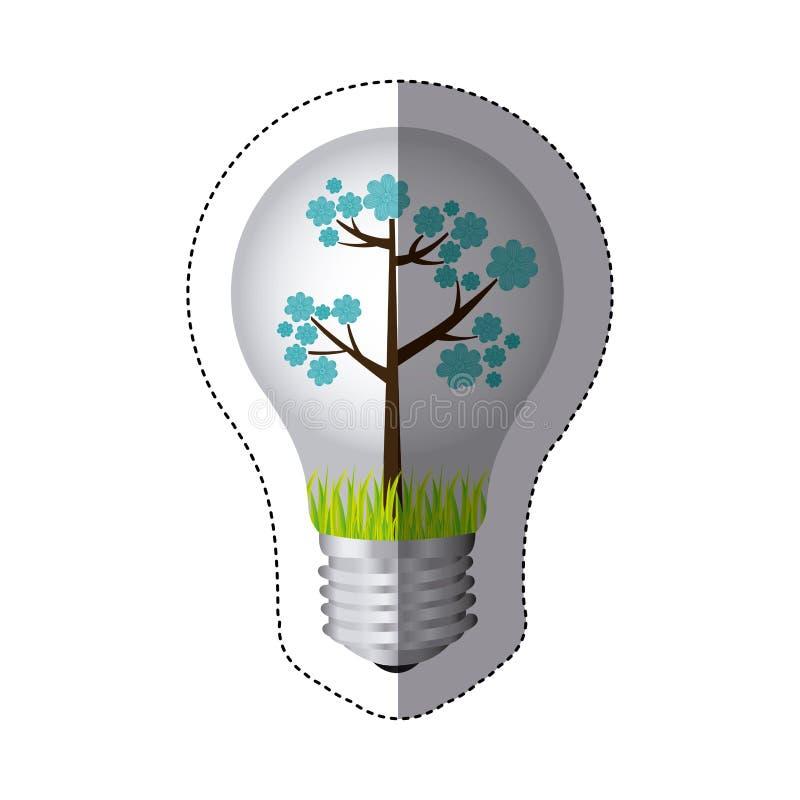 coloree la silueta de la etiqueta engomada con la luz de bulbo y el árbol floral azul stock de ilustración