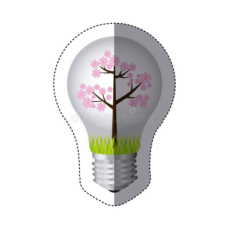 coloree la silueta de la etiqueta engomada con la luz de bulbo y el árbol floral rosado stock de ilustración