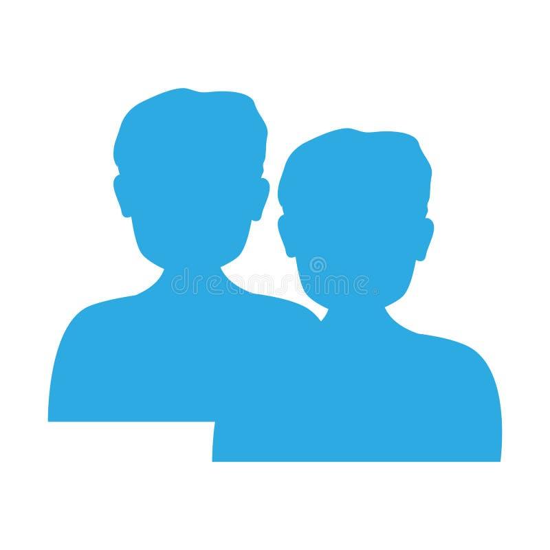 Coloree la silueta de la media figura ser humano del icono del cuerpo ilustración del vector