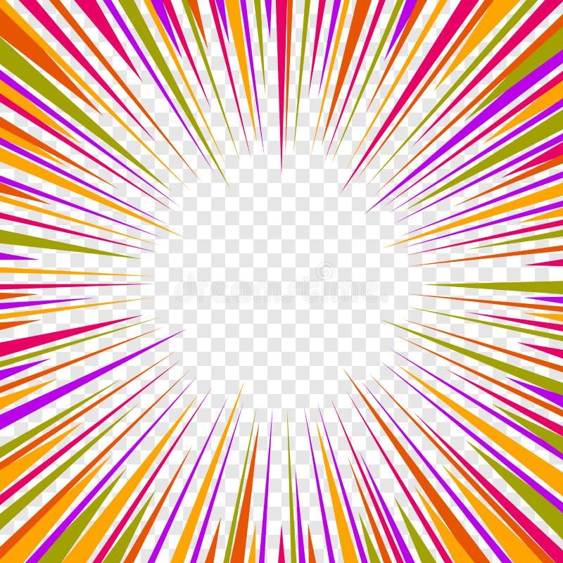 Coloree las líneas radiales efectos de la velocidad de los tebeos del gráfico sobre fondo transparente Vector libre illustration